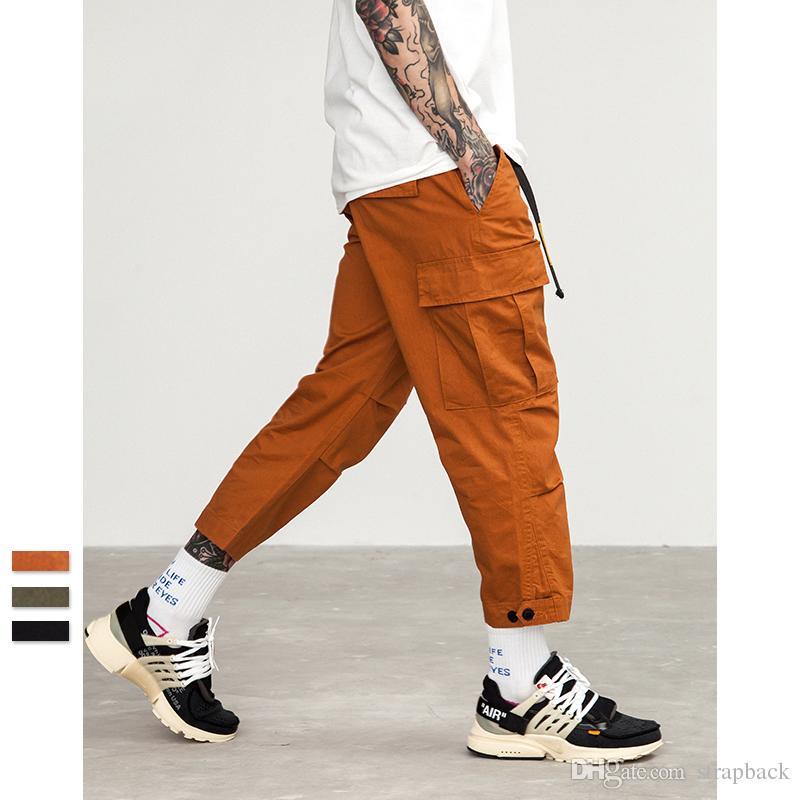 Snap حزام الذكور عداء ببطء عارضة زائد حجم capris السراويل القطنية متعددة جيب نمط الجيش الأخضر البرتقالي الرجال الهيب هوب البضائع السراويل