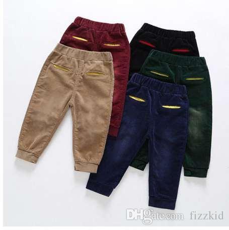 Осень Вельвет детские брюки повседневная мальчики брюки одежда девушки брюки Детская одежда Vetement Enfant Fille малыша Брюки 2-6T