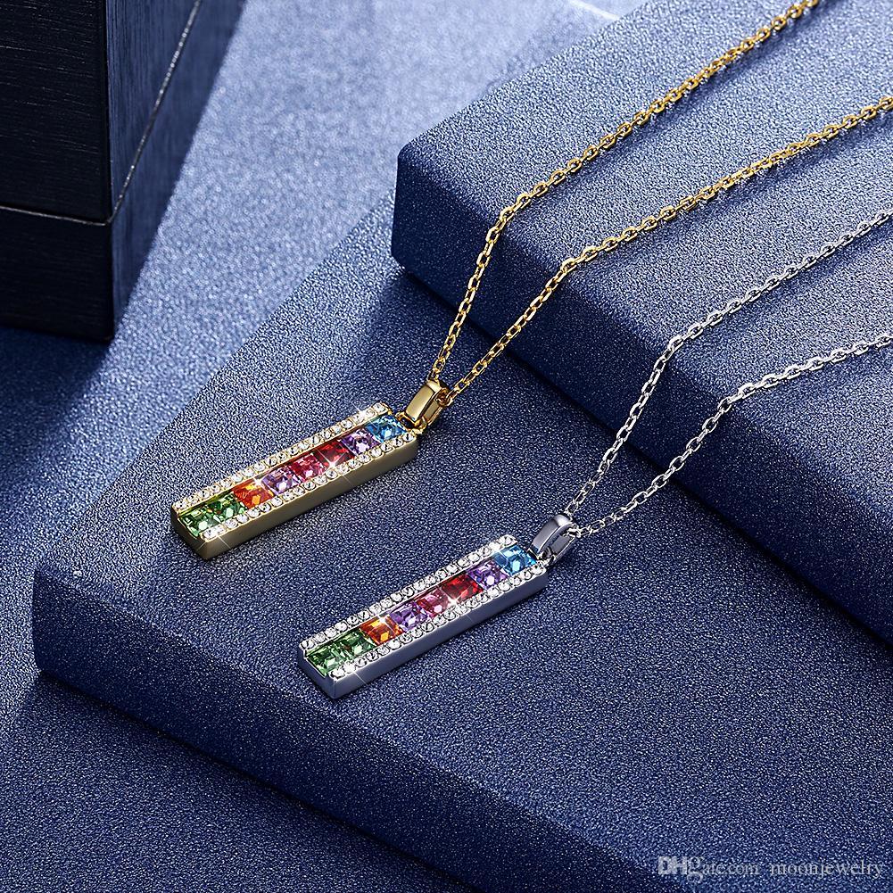 Hot sale Sterling silver color bar fashion necklace swarovski elements crystal S925 necklace for girlfreind gift