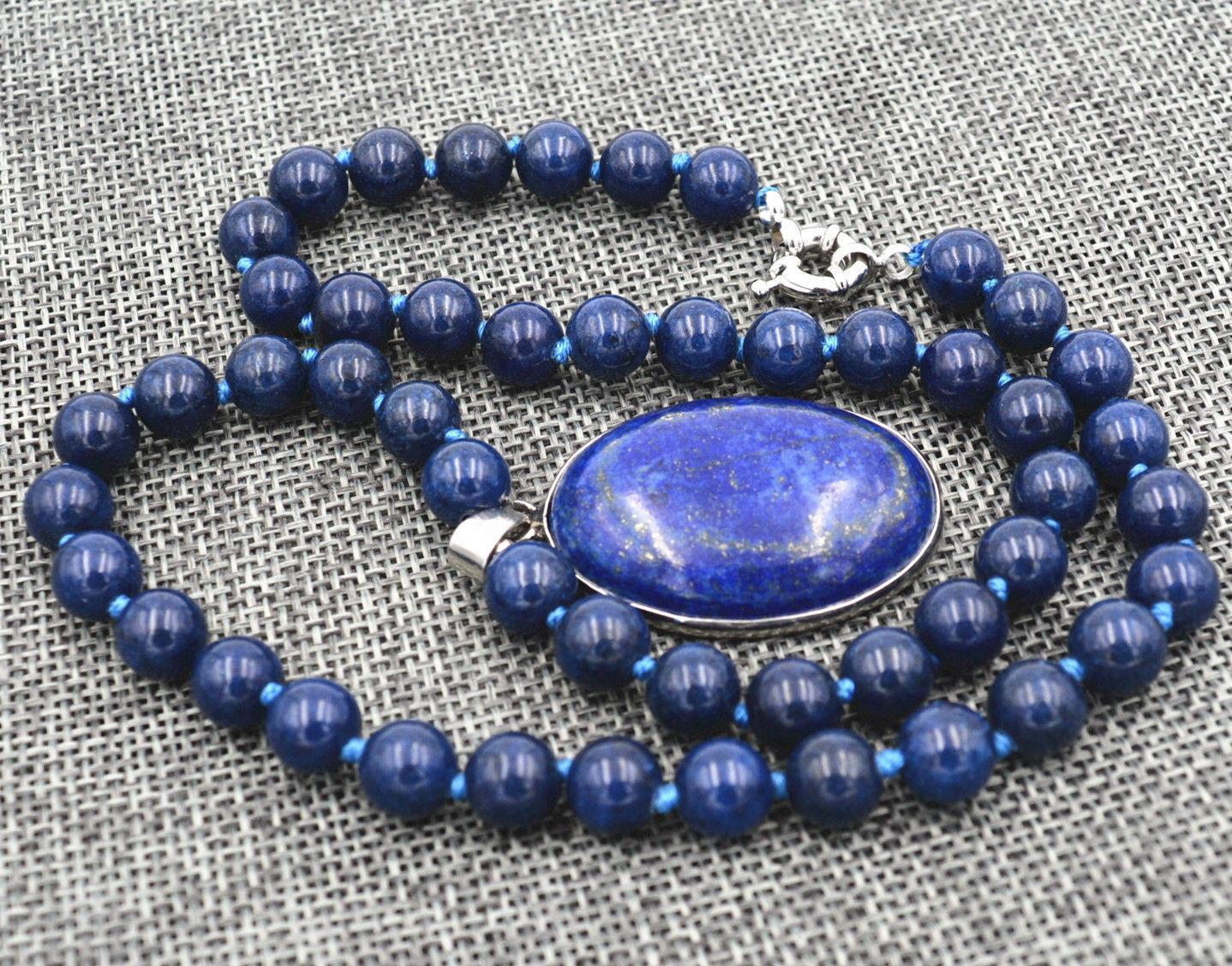 Natural 8mm Egyptian Lapis Lazuli Gemstone pendant Necklace 18''