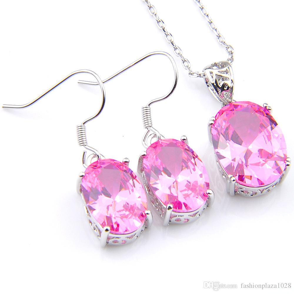 Luckyshine 925 collane per le donne Pendenti Orecchini Imposta Ellipse insiemi kunzite monili Imposta Rosa zircone trasporto libero del regalo