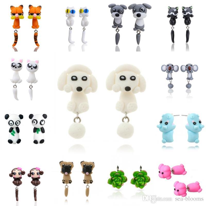 32 Styles Cute 3D Dinosaur Dog Cat Pig Fox Panda Polymer Clay Earring Cartoon Stud Earring Handmade Stud Earrings D443L