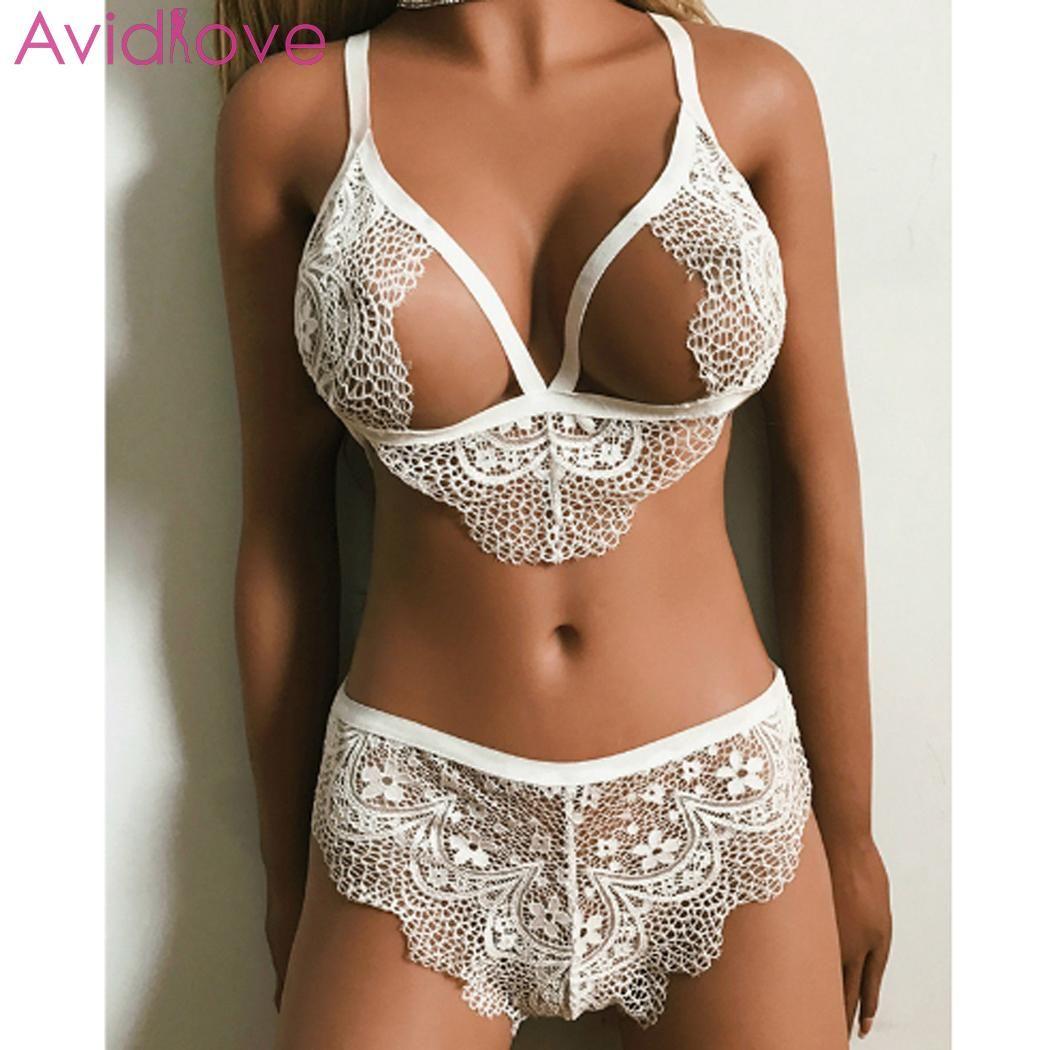 Avidlove женщины Babydoll кружева сексуальный комплект сетки белье видеть сквозь пижамы бюстгальтер комплект нижнего белья lenceria femenina