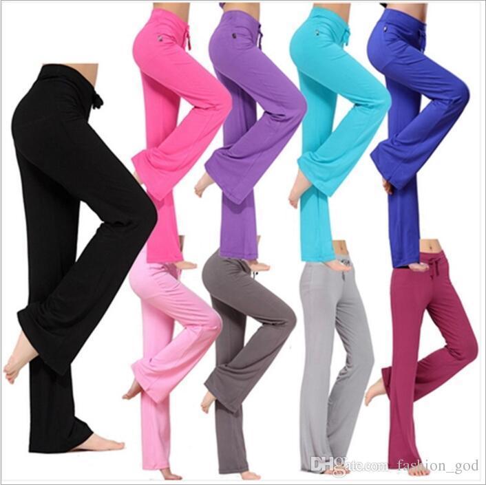 Flare Pantolon Uzun Spor Bloomers Kadınlar Yoga Spor Kapriler Geniş Bacak Pantolon Rahat Moda Harem Pantolon Dans Ince Palazzo Gevşek Pantolon B3756