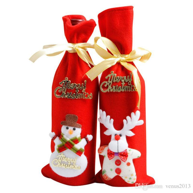 Christmas Tableware Santa Claus Red Colors Ornaments Xmas Wine Bottle Covers Bag Dinner Table Decor for Home Party