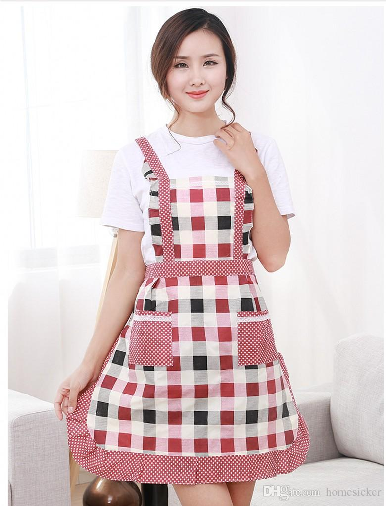 Women Aprons With Pocket Cooking Ruffle Chef Floral Kitchen Restaurant Princess Apron Polyester Kindergarten Clothes Bib With Pockets Denim Aprons Man