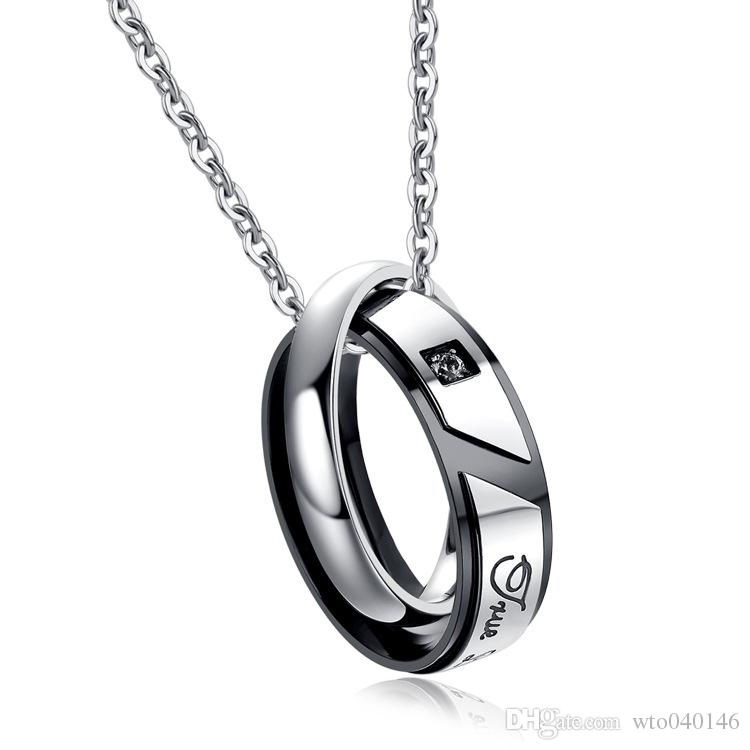 InitialLoer Long Chain Double Ring Romantic Necklace For Couple Necklaces pendants With Accessory Lace Trendy Fashion Style Charm Jewelry