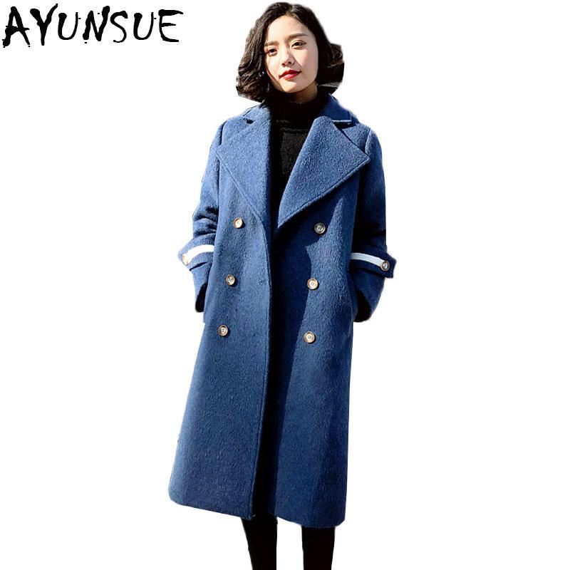 AYUNSUE Womes Bleu Laine Manteau Femmes 2018 Automne Hiver Trench-Coats Femelle Chaud Turn Down Collier Femme pardessus casaco feminino