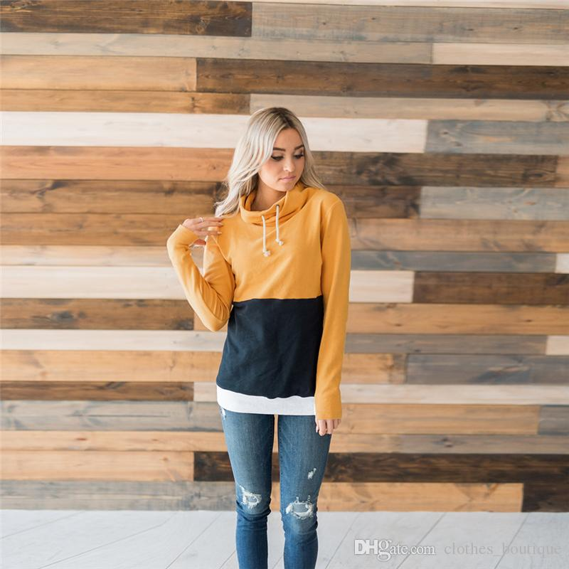 Women's Casual Long Sleeve Color Block Patchwork Pullover Hoodies Drawstring Sweater Long DHL Casual Sweatshirts Thumb Hole Blouses Tops