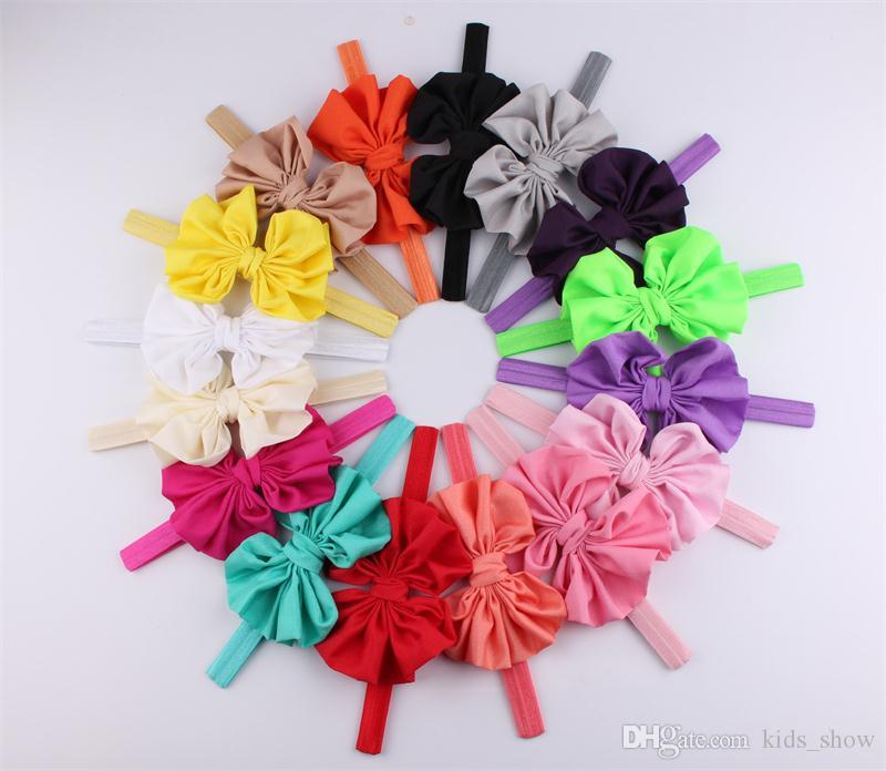Newborn Bowknot headbands baby girl big bow hairband Cute infant elastic headband fashion baby Hair Accessories