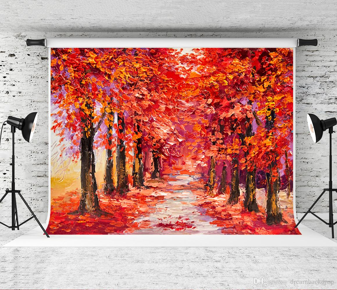 7x5ft Oil Painting Background for Photographer children photo red Forest Road Shoot Backdrop Prop Wedding Decor Leaves Backgrounds Studio