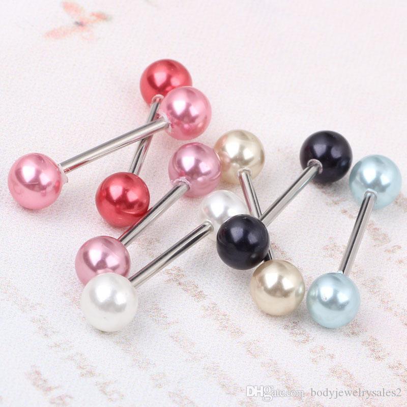 مزيج اللسان T21 بار 6 لون 100pcs / lot هيئة المجوهرات ثقب لؤلؤة اللسان اللسان بار الدائري