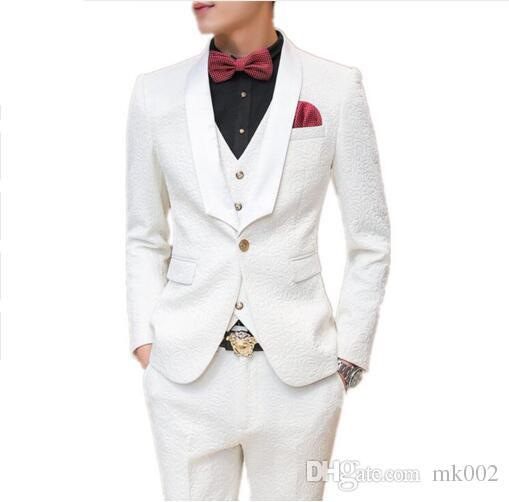 الأزياء مخصص الرجال البدلة يتأهل رجل الدعاوى البيضاء لحفلات الزفاف اللباس حزب ملابس رجالي سهرة الدعاوى مع السراويل