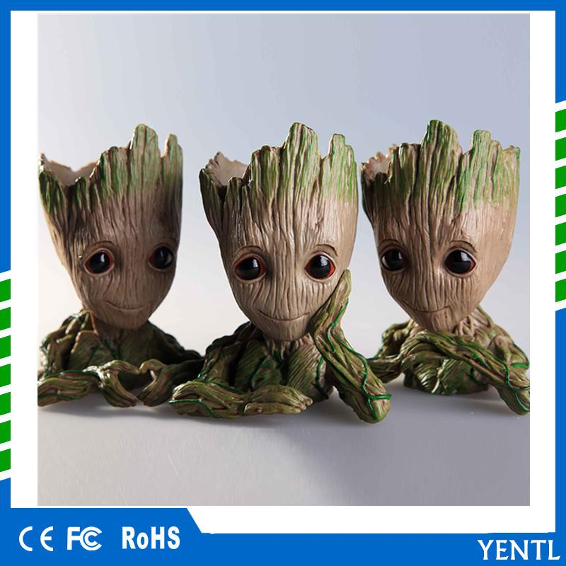 free shipping Tree Man car decoration hands up Action Figure Guardians of The Galaxy 2 pen pot flower pot Toy groot The Galaxy Model dolls