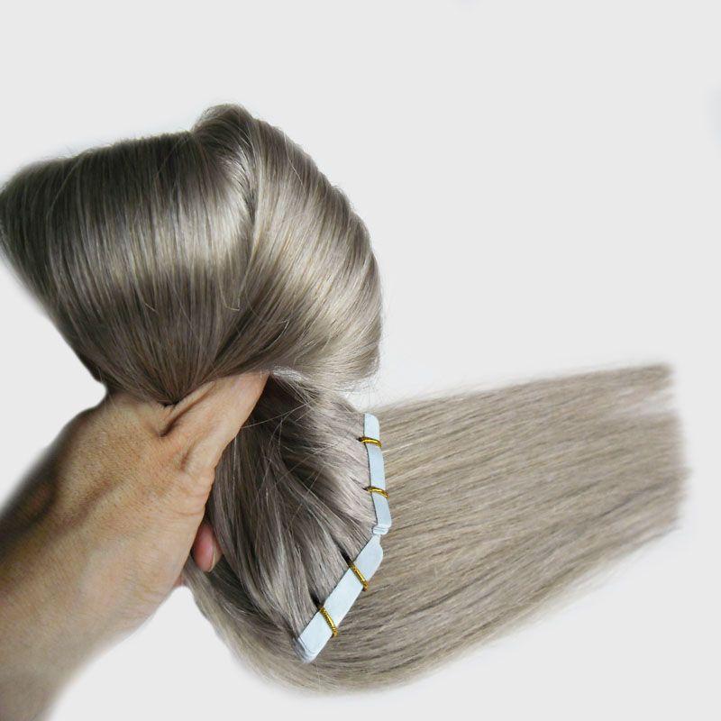 Fita cinzenta do cabelo 200g 80pcs / Set de trama do cabelo da pele 7fa da fita das extensões do cabelo da fita 7a em extensões do cabelo humano