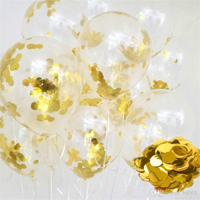 Creativo globo de papel transparente con lentejuelas Festival redondo fiesta de cumpleaños suministros látex Airballoon decoraciones de la boda Venta caliente 2 4sl a