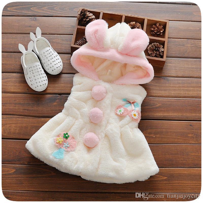 Winter Baby Girls Outerwear&Coats Cartoon Thick Warm Princess Girls Vest Hooded Kids Jackets Baby Girl Velvet Waistcoat