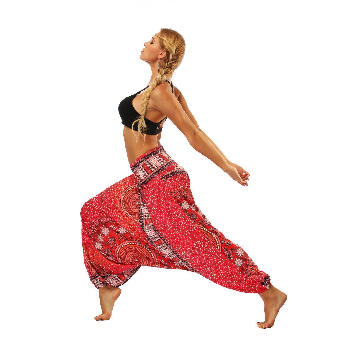 Yoga Pants Women Mandala Print Loose Wide Leg Hanging Crotch Legging Lantern Style Comfy Harem Dancing Trousers Streetwear