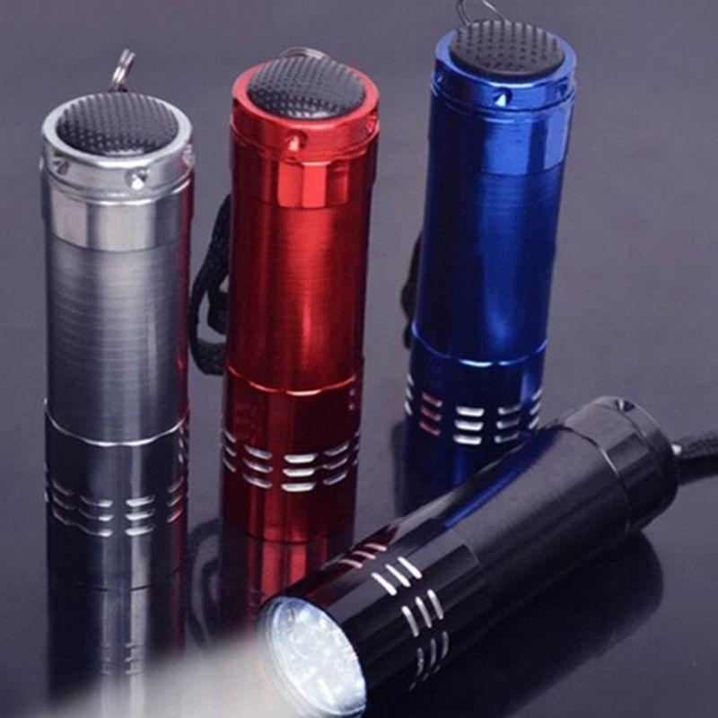 Portátil 9 CREE LED luz UV Linterna Senderismo Antorcha Aleación de aluminio Dinero Detectar LED UV Lámpara Luz no incluida batería