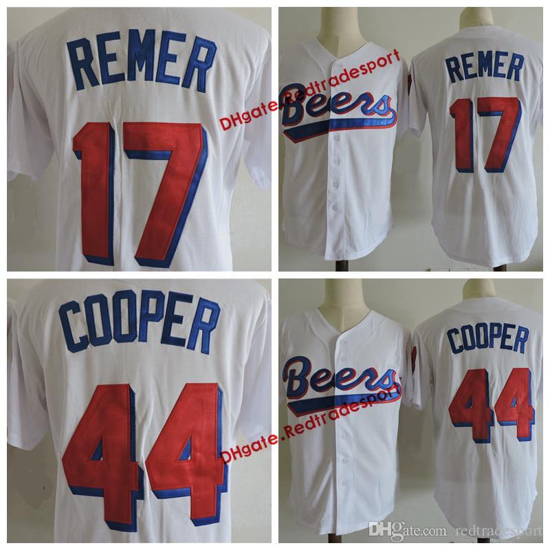قمصان الرجال والبلوزات baseketball BEERS فيلم JERSEY 44 JOE COOP COOPER 17 DOUG ريمر البيسبول جيرسي بيرز خياطة