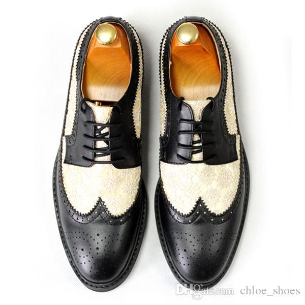 Handmade Esculpido Brogue Vestido Sapatos de Couro Vaca Masculino Formal Business Shoe Male Oxfords
