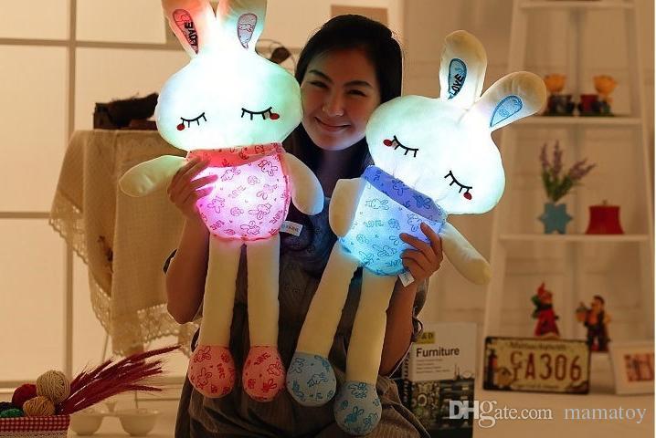 100cm LED Music Stuffed Easter Bunny Plush Rabbit Doll toys Colorfull light plush toys Valentine's Day Gifts for girls