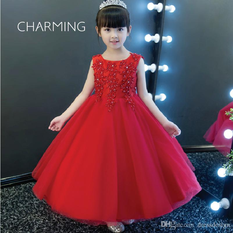 baby girl dress in red color 3d floral wedding dress tulle dress flower girl beaded prom dresses
