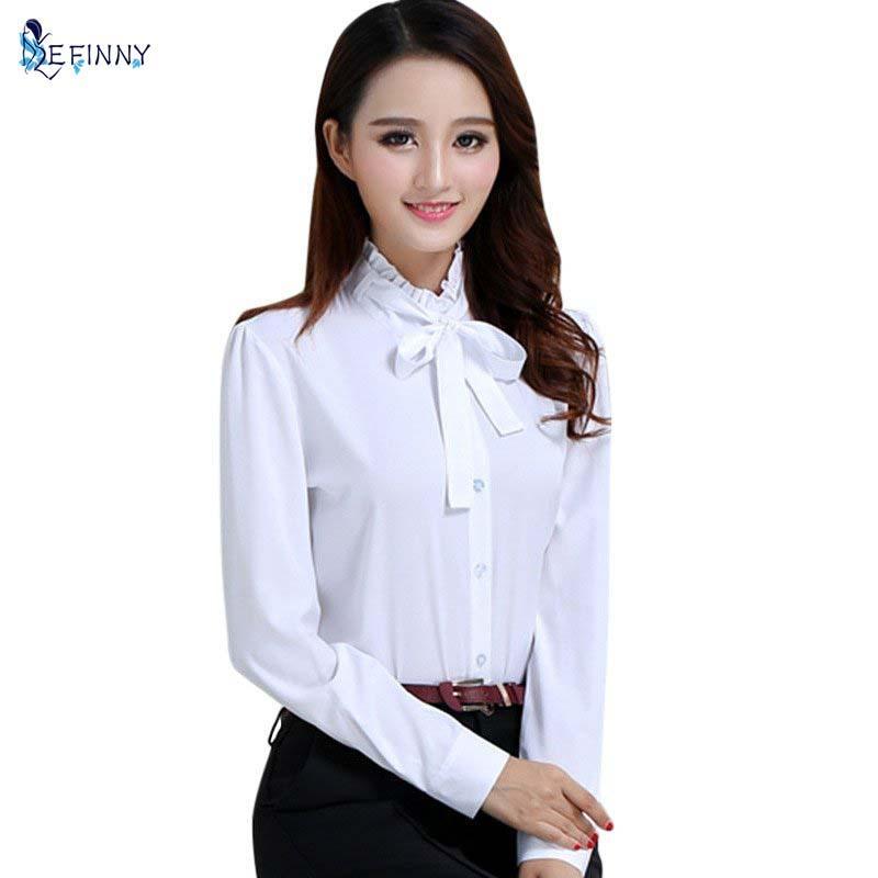 mejor servicio 32eb6 672e4 Compre Primavera Mujer Camisas Blancas O Cuello Blusas De Manga Larga Moda  Para Mujer Tops A $9.15 Del Pinkcolor | DHgate.Com