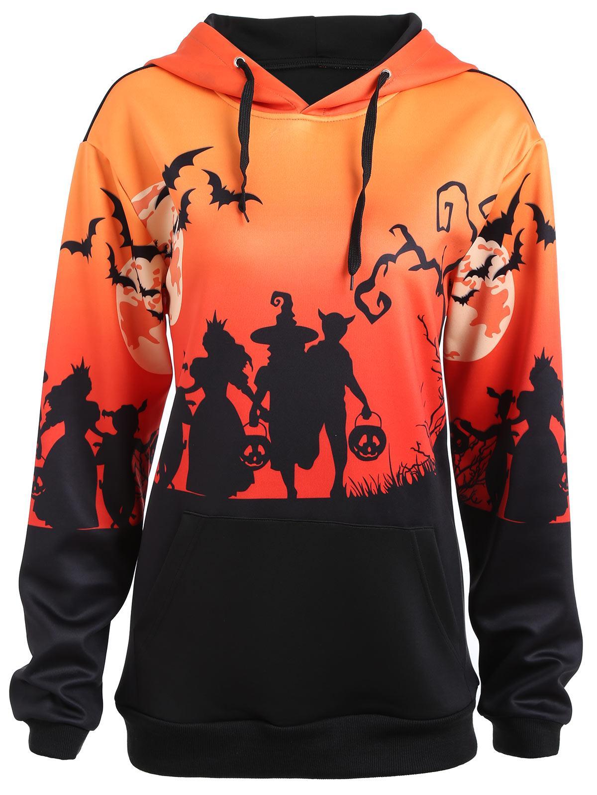 vendita all'ingrosso Plus Size Halloween Moon Bat Stampa Felpa con cappuccio con tasca Inverno caldo coulisse Color Block Felpa con cappuccio Pullover