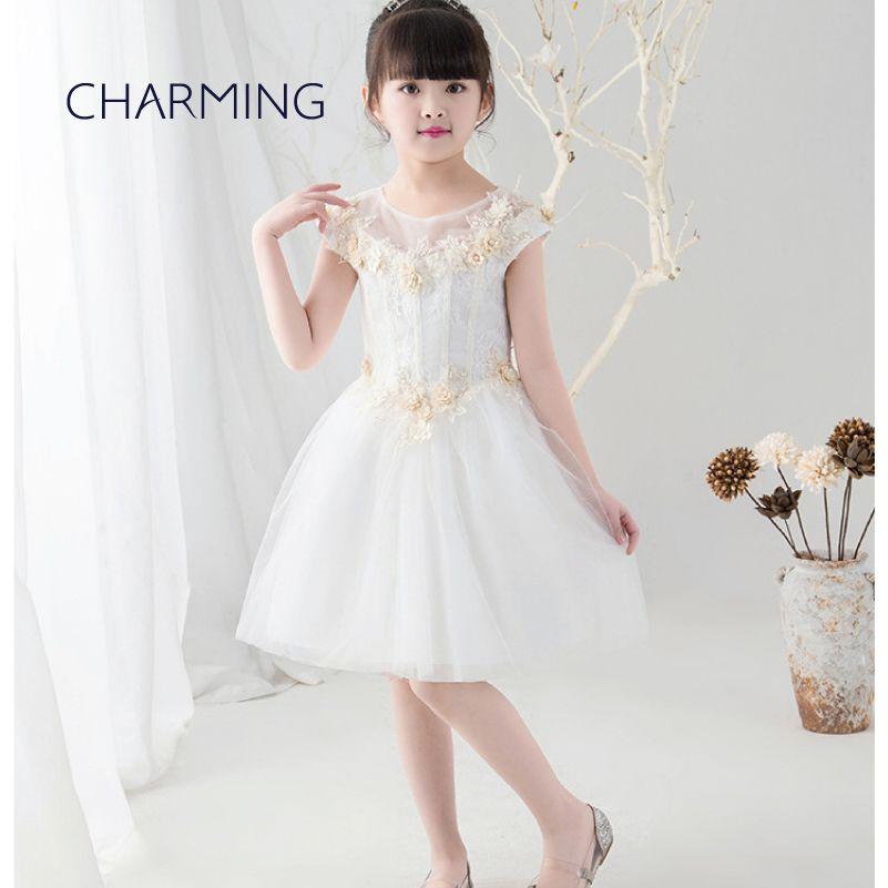 Girls white sundress Lace flower girl dresses Big girl dresses Opening season graduation tutu dress Piano performance