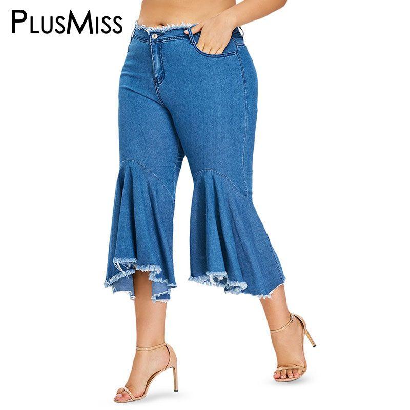 PlusMiss 플러스 사이즈 5XL 블루 스키니 플레어 청바지 엄마 XXXXL XXXL XXL 여성 빅 사이즈 크로프트 데님 카프리 짧은 청바지 바지 여성