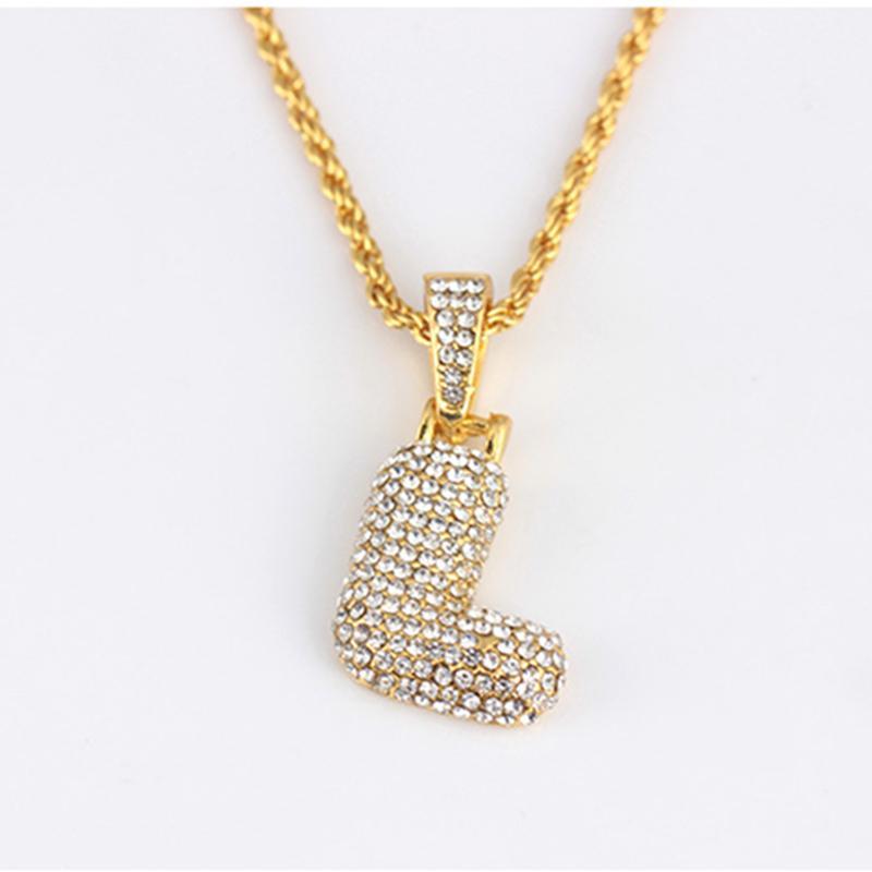 Новый хип-хоп мужская A-Z пользовательские названия пузырьки буквы кулон ожерелья очарование для мужчин женские золотые кубические Zircon хип хмель ювелирные украшения подарки