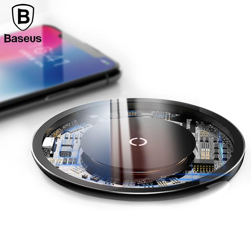 Carregador sem fio Baseus 10W Qi para iPhone X / XS Max XR Visible almofada de carregamento rápido sem fio para Samsung S9 / S9 + Nota 9 9 + 8 Huawei