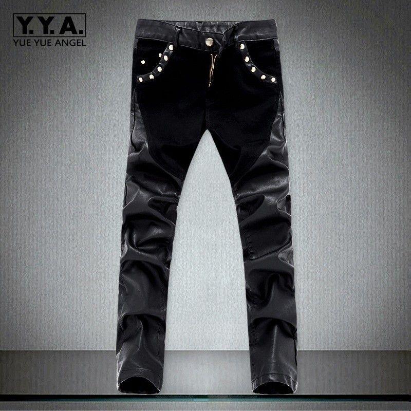 2018 New Fashion Splice Men Motorcycle Pants Korean Slim Fit PU leather Trousers Streetwear Casual Zipper Pencil Pants Plus Size