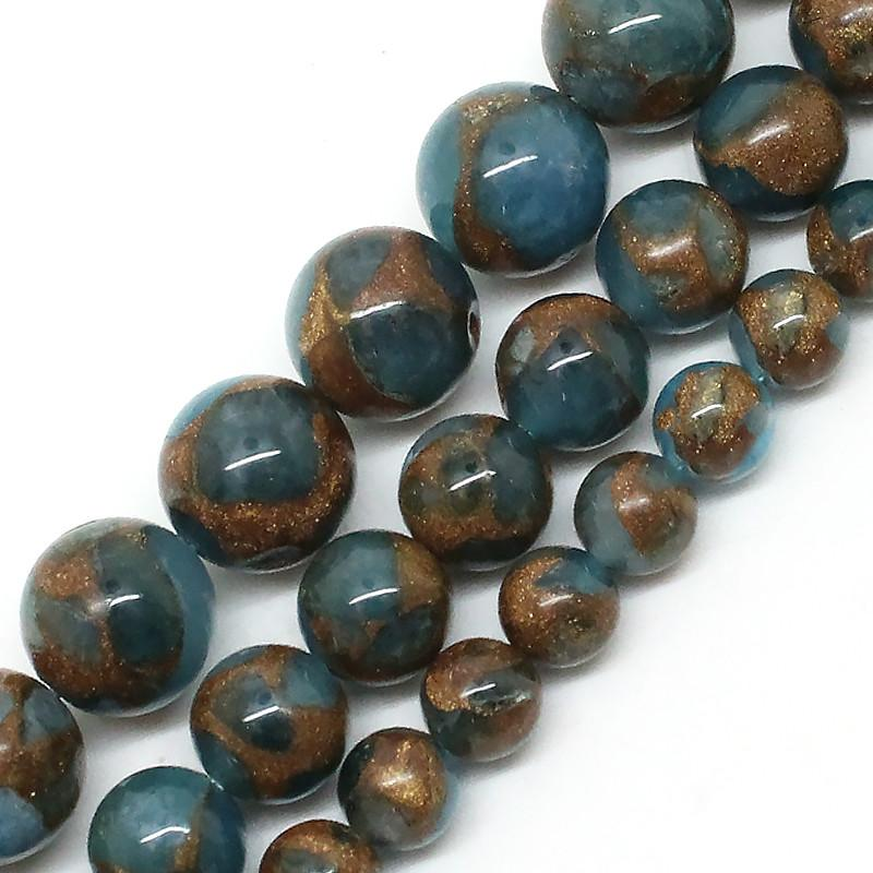8 ملليمتر بحيرة زرقاء مصوغة بطريقة الحجر الطبيعي جولة فضفاض الخرز لصنع المجوهرات 6 8 10 ملليمتر اختيار حجم 15 بوصة diy قلادة