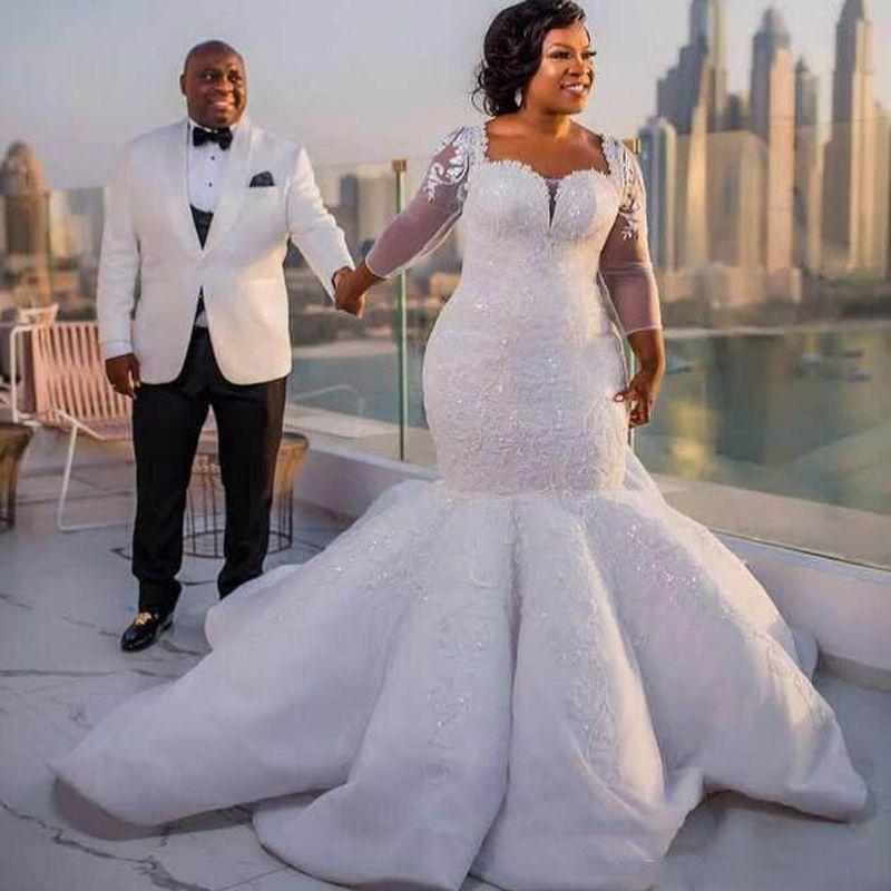 Abiti da sposa a manica lunga sudafricana Abiti da sposa Abiti da sposa pizzo Appliques Plus Size Sheer Neck Agabita da sposa Vedi attraverso schienale lungo lungo matrimonio Vestidos