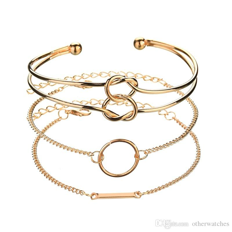 Новые ювелирные изделия, дамы позолоченный браслет, 4 комплекта браслет Оптовая сплава материала гальванических браслет и браслет геометрия