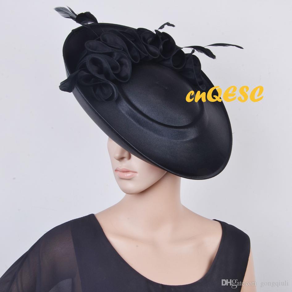 Nero tutto l'anno Grande cappello di fascinator in satin con piattino per Kentucky Derby, matrimonio, chiesa, festa, occasioni formali.