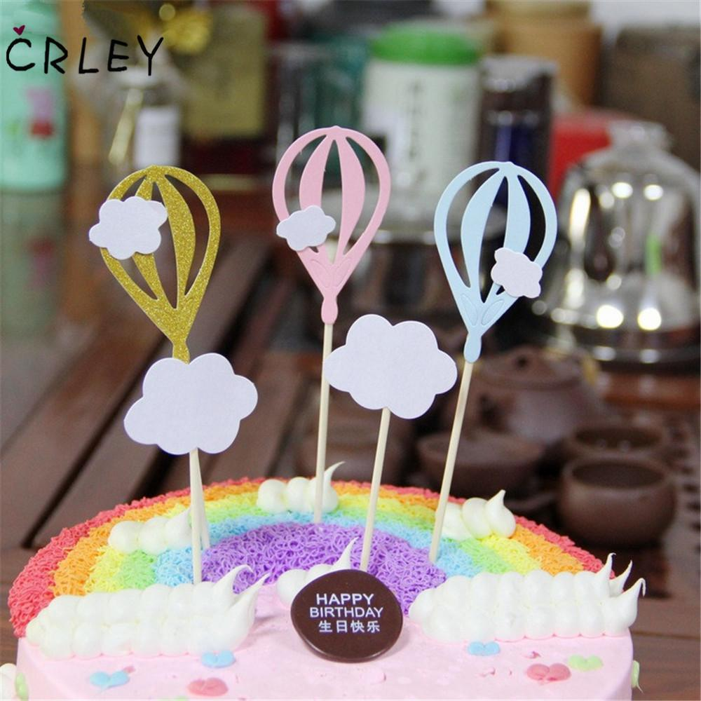 Excellent 2020 Crley Cake Toppers Pink Blue Clouds Hot Air Balloon Shape Funny Birthday Cards Online Alyptdamsfinfo