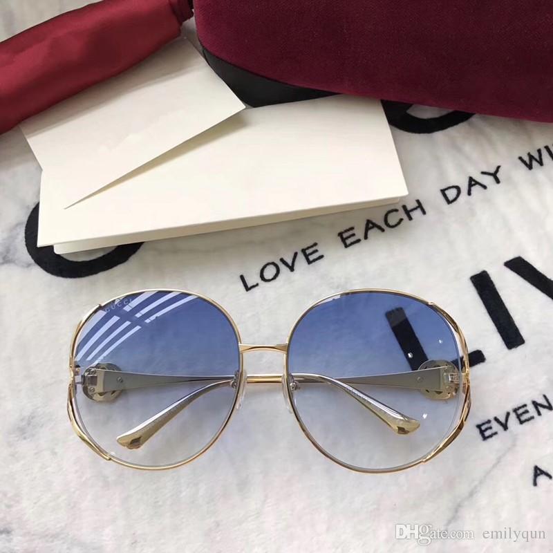 النظارات الشمسية العلامة التجارية المتضخم أزياء جولة كبيرة الإطار للنساء سيدة ظلال نظارات الشمس الوردي رمادي عدسة النظارات 0225S مع الحزمة