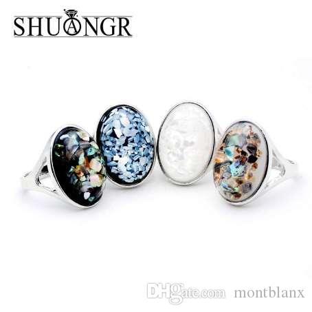 SHUANGR 레이디 패션 우아한 타원형 화이트 천연 쉘 큰 돌 반지 골동품 은색 중공 검은 높은 품질의 실버 주얼리