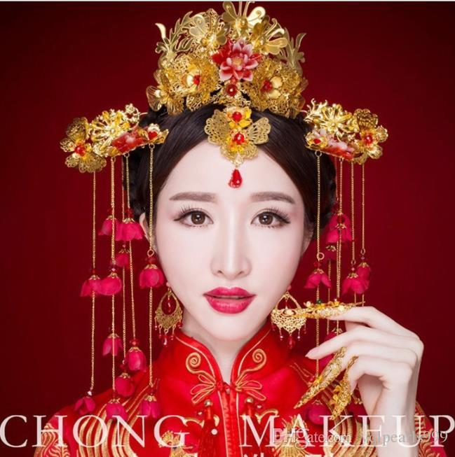 Brides, ancient costumes, headwear, Phoenix crown show, kimono and kimono, accessories for Chinese ethnic accessories, wedding gowns and acc
