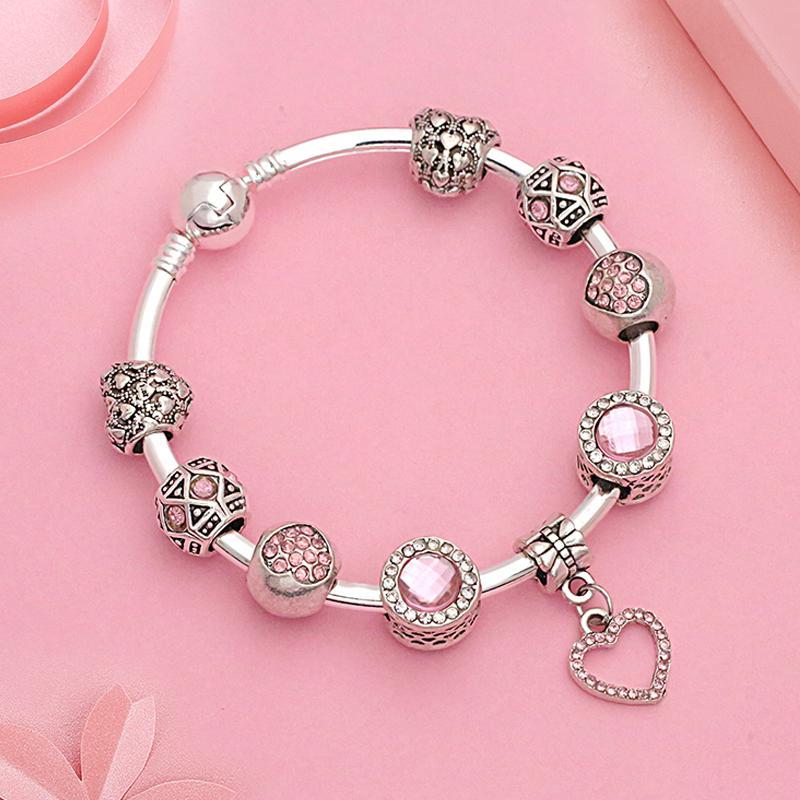 2018 HOT Coeur Cristal Perle Rose Bracelet couleur argent charmes bricolage femmes Bangle Couple romantique Bracelet Bijoux Bracelet