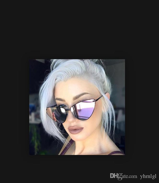 2018 Мода Кошачий глаз Солнцезащитные очки женщин Дамы черный металл солнцезащитные очки женские солнцезащитные очки зеркало дизайнер