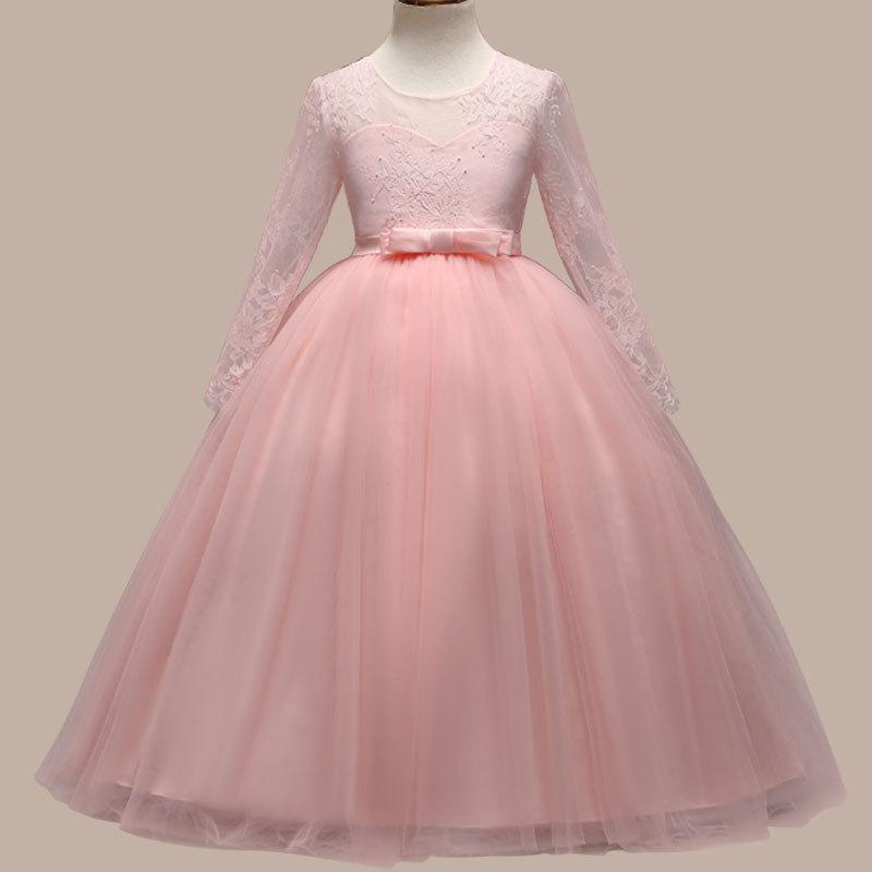 Европа и Соединенные Штаты продают новый с длинными рукавами вышивка платье девушки лук марля принцесса юбка платье дети