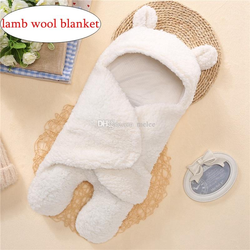 INS Autumn winter Infant children super soft plush lamb wool blankets sleeping bags velvet baby Infant baby supplies white and pink 2color