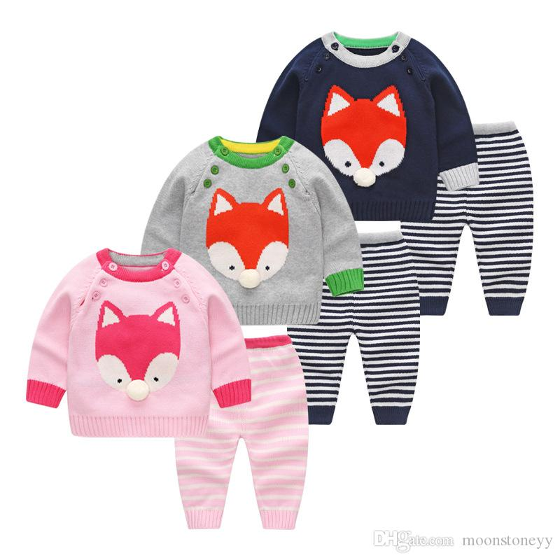 Spring Baby Clothes Sets Newborn Boys Girls Warm Knitted Sweater Suit Infant Cartoon Fox Cat Patten for 0-24M