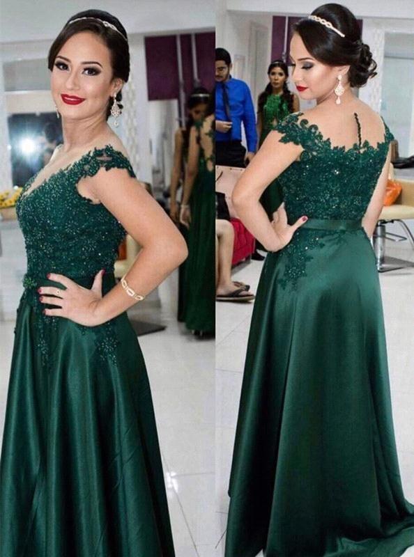 Nach Maß Dark Green Lace Perlen Mutter der Braut Bräutigam Kleider Kurzarm mit Rüschen Formelle Abendkleid Party Kleid