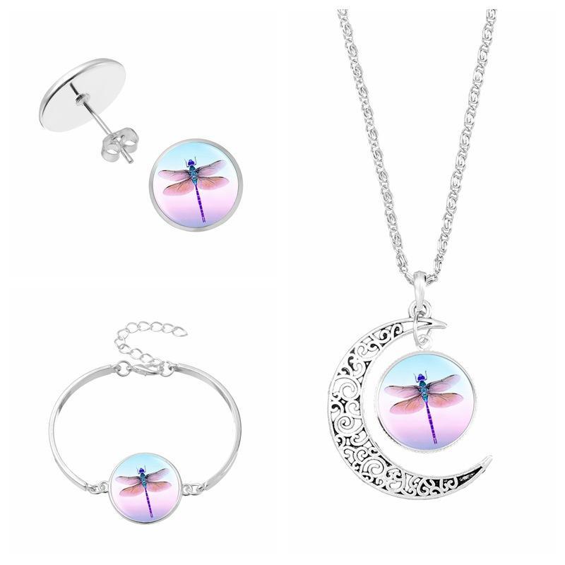 Halskette Kette mit Anhänger Cabochon Libelle