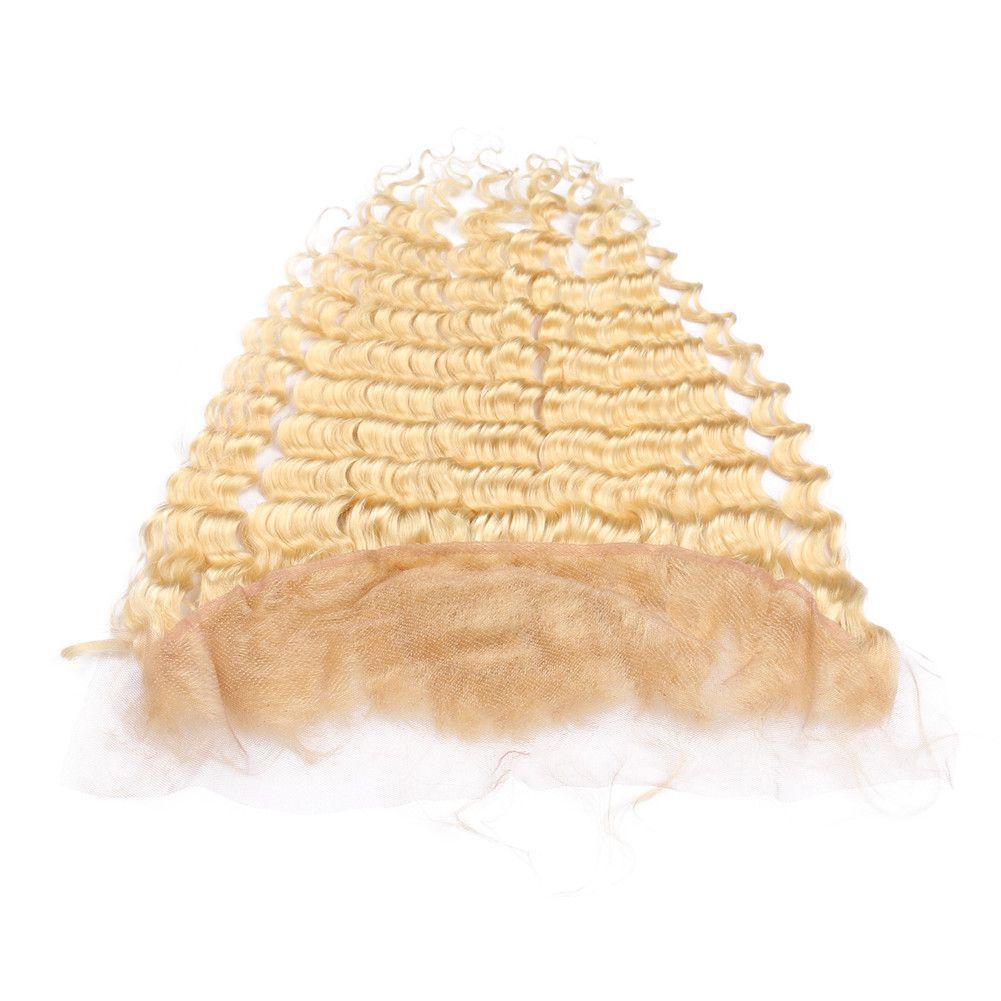 Глубокая волна Девы перуанский Золотой блондинка человеческие волосы кружева фронтальная закрытие глубокий волнистые # 613 блондинка 13x4 полный кружева фронтальная с волосами ребенка